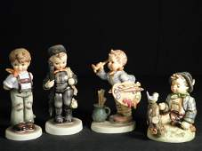 FOUR HUMMEL FIGURINES WHISTLERS DUET THE ARTIST ETC