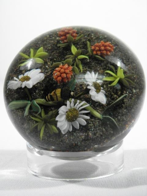 PAUL STANKARD BOTANICAL & BEE LAMPWORK PAPERWEIGHT