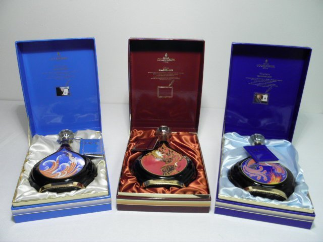 THREE ERTE COLLECTABLE COURVOISIER COGNAC DECANTERS