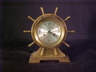SALEM SHIPS BELL CLOCK BRASS ENGRAVED