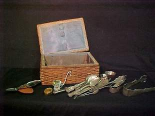 ANTIQUE SEWING BASKET SILVER PLATE ETC
