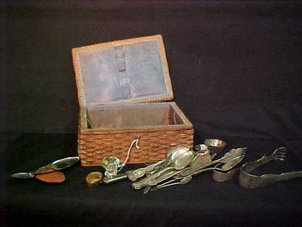 5: ANTIQUE SEWING BASKET SILVER PLATE ETC