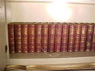 20 ANTIQUE LEATHER BOUND LIBRARY BOOKS