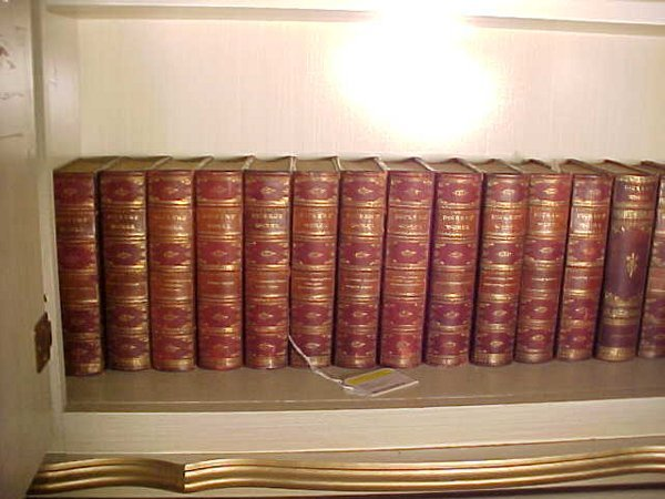 10: 20 ANTIQUE LEATHER BOUND LIBRARY BOOKS