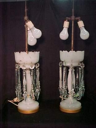 OPALESCENT GLASS LAMPS PRISMS GILT DECORA