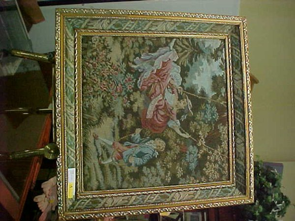 18: FRAMED VICTORIAN STYLE TAPESTRY LOVERS SW