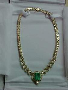 187: 14 KT GOLD EMERALD DIAMOND NECKLACE