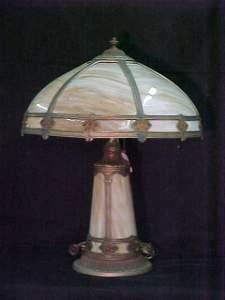 265: ANTIQUE SLAG GLASS ARTS CRAFTS LAMP
