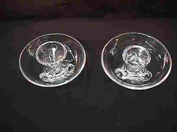 PAIR STEUBEN CRYSTAL CANDLE HOLDERS