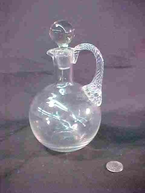 CRYSTAL DECANTER APPLIED GLASS HANDLE