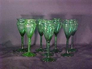 GREEN ART GLASS BUBBLE STEMS 8