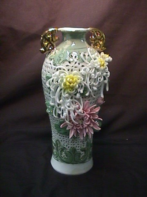 CHINA RETICULATED VASE FLOWERS NEWER