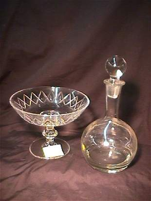 VAL ST LAMBERT CUT CRYSTAL GLASS COMPOTE