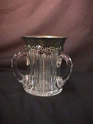 STERLING SILVER CUT GLASS LOVING CUP