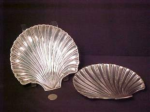 TWO STERLING SILVER SHELL SHAPED PLATES