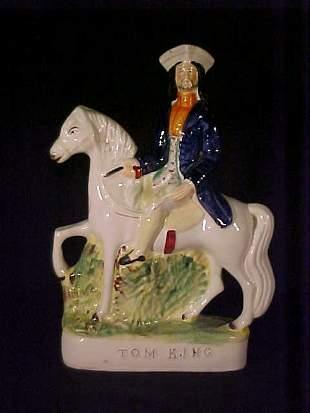 ANTIQUE STAFFORDSHIRE FIGURINE ON HORSE