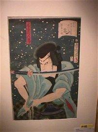 648: JAPANESE WOODBLOCK PRINT SAMURAI NIGHT