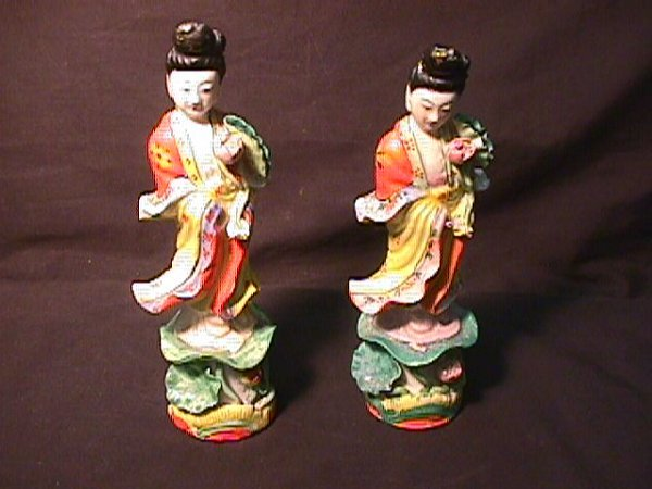 821: PAIR PORCELAIN ORIENTAL FIGURES LADIES
