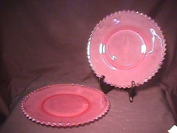 826: 2 PINK FROSTED GLASS PLATES