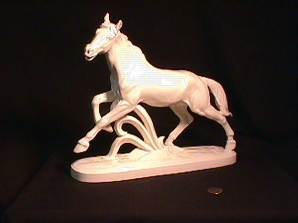 829: LG GERMAN WHITE PORCELAIN HORSE