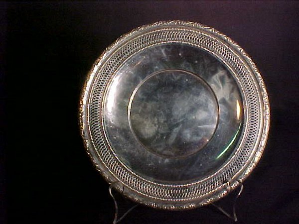 837: STERLING SILVER RETICULATED ROUND PLATE