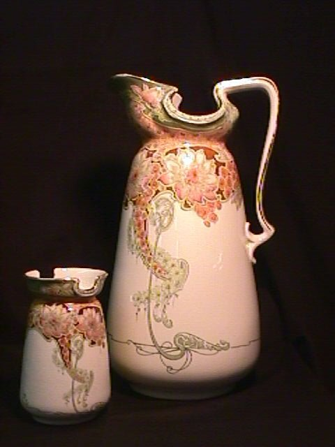 838: LG ENGLISH ART NOUVEAU PITCHER SMALL JAR