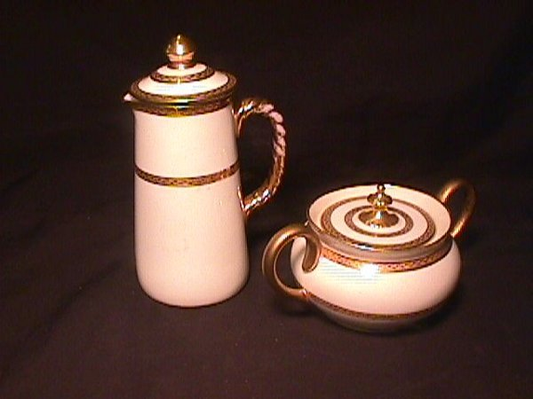 843: CAULDRON PORCELAIN COVERED CREAMER SUGAR