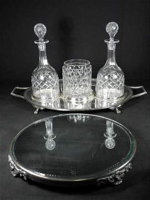 CRYSTAL & SILVER PLATED TABLEWARES: PLATEAU, ETC. 5 PCS