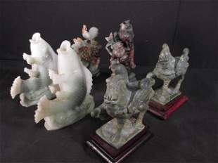 SIX CHINESE CARVED HARDSTONE FIGURES