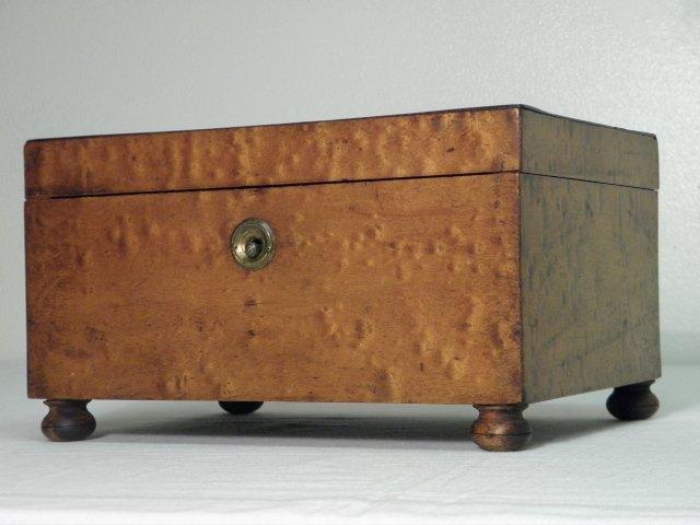 19TH C BRASS MOUNTED BIRD'S-EYE MAPLE DOCUMENT BOX