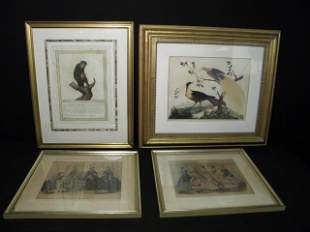 FOUR FRAMED PRINTS: HAND COLORED, ETC.