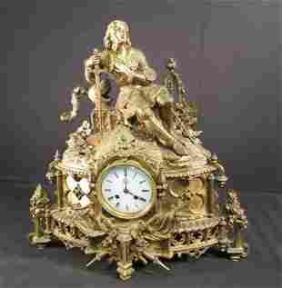 FRENCH JAPY FRERES GILT BRONZE FIGURAL MANTEL CLOCK
