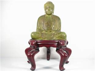 CHINESE PATINATED BRONZE SCULPTURE OF BUDDHA