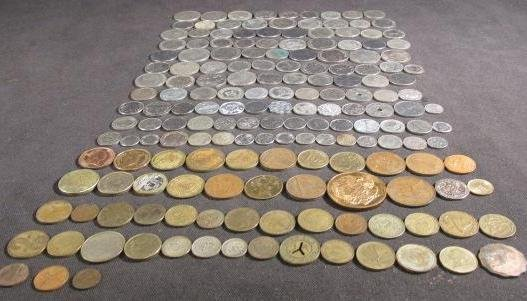 TWO POUNDS OF ASSORTED FOREIGN COINS