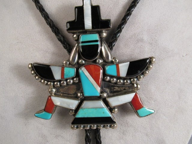 A LARGE ZUNI INLAID SILVER BOLO NECKLACE