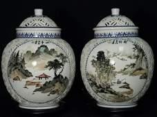 PAIR VINTAGE CHINESE PIERCED CERAMIC GINGER JAR LAMPS