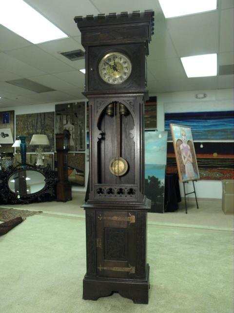 FRENCH CARVED WALNUT GRANDFATHER CLOCK