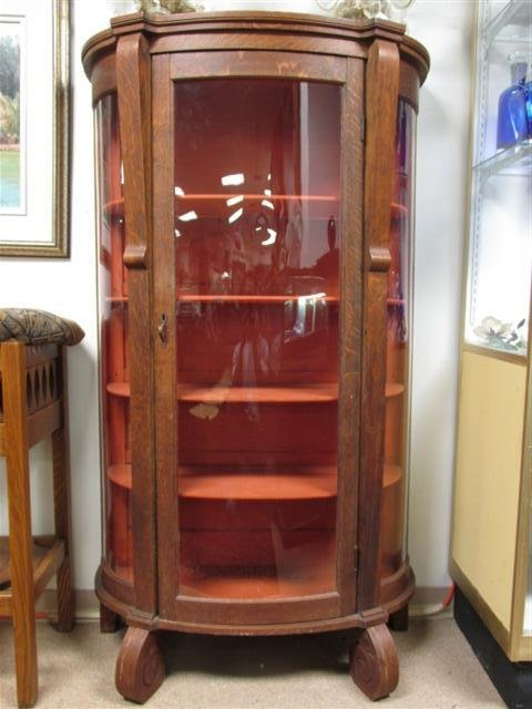 EARLY 20TH C CARVED TIGER OAK CURVED GLASS CURIO