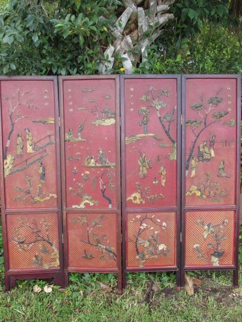 CHINESE FAUX HARDSTONE FOUR PANEL DIVIDER SCREEN