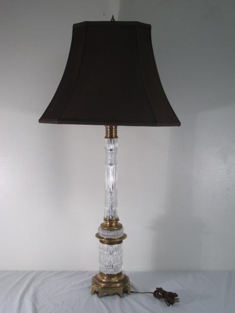WARREN KESSLER EMPIRE STYLE CUT CRYSTAL TABLE LAMP