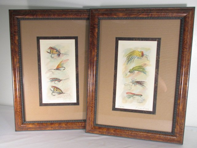 TWO FRAMED CHARLES LEONARD FLY FISHING ETCHINGS