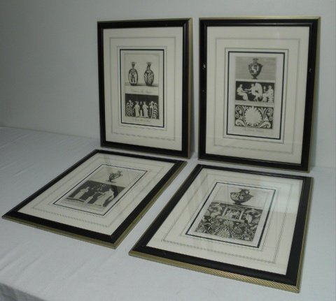 FOUR FRAMED ETCHINGS: ROMAN RUINS