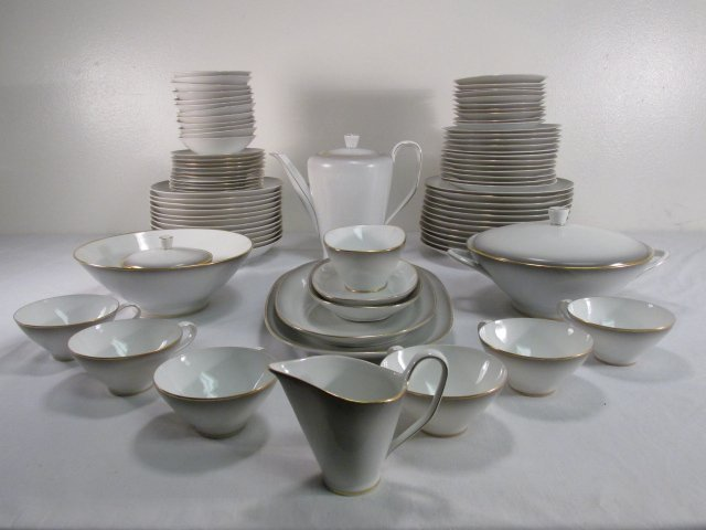 "ROSENTHAL ""BETTINA"" GOLD BANDED DINNERWARE: 85 PCS"
