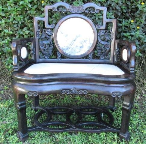19TH C CHINESE ROSEWOOD ARMCHAIR WITH MARBLE INLAY