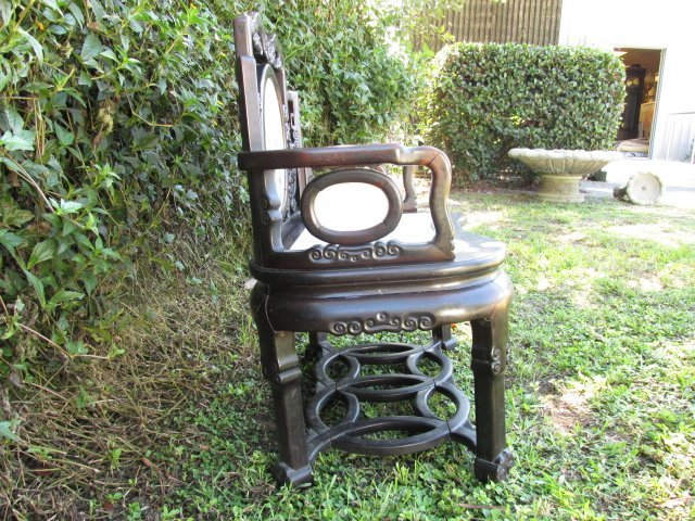 19TH C CHINESE ROSEWOOD ARMCHAIR WITH MARBLE INLAY - 2