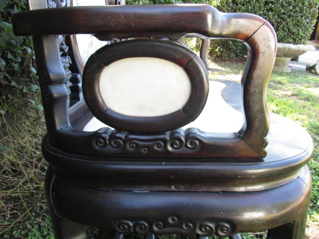 19TH C CHINESE ROSEWOOD ARMCHAIR WITH MARBLE INLAY - 3