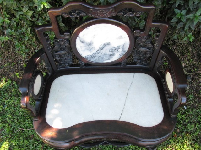 19TH C CHINESE ROSEWOOD ARMCHAIR WITH MARBLE INLAY - 8