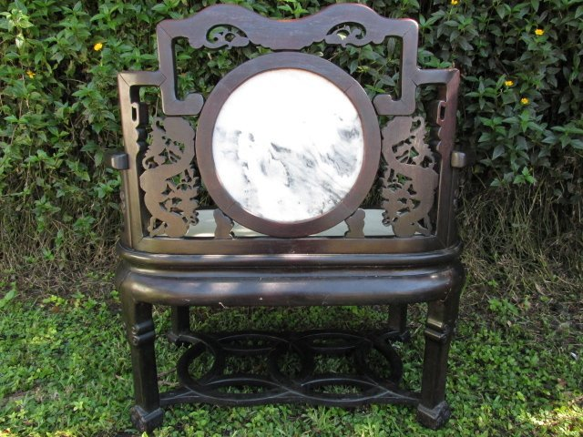 19TH C CHINESE ROSEWOOD ARMCHAIR WITH MARBLE INLAY - 9
