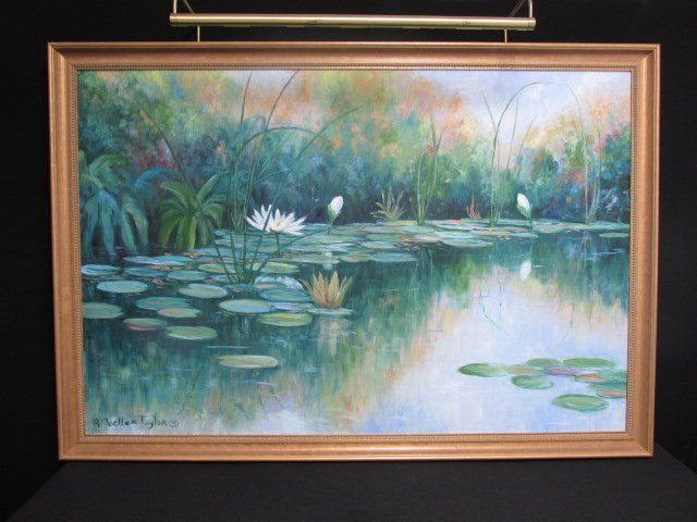 RUTH MUELLER TAYLOR OIL ON CANVAS PAINTING: POND
