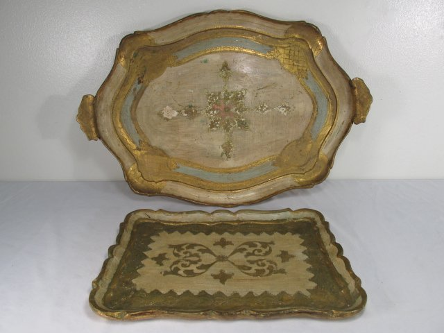 TWO ITALIANATE GILT WOOD SERVING TRAYS